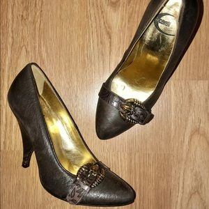 Just Cavalli Eagle Claw Brown Embossed Pumps